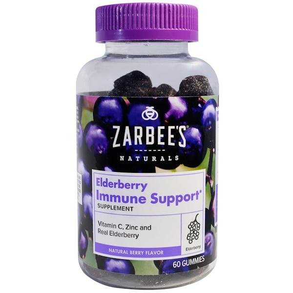 Zarbee's, Elderberry Immune Support, Natural Berry Flavor, 60 Gummies (Discontinued Item)