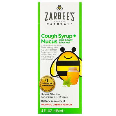 Zarbee's Children's Cough Syrup + Mucus, Dark Honey & Ivy Leaf, For Children 12 Months+, Natural Cherry Flavor, 4 fl oz (118 ml)