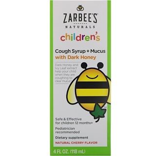Zarbee's, Children's Cough Syrup + Mucus with Dark Honey, Natural Cherry Flavor, 4 fl oz (118 ml)