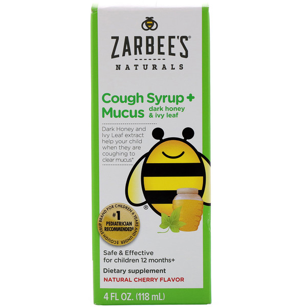 Zarbee's, Children's Cough Syrup + Mucus, Dark Honey & Ivy Leaf, Natural Cherry Flavor, 4 fl oz (118 ml)