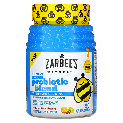 Купить Zarbee's Children's Daily Probiotic Blend with Two Strains, Natural Fruit Flavors, 50 Gummies