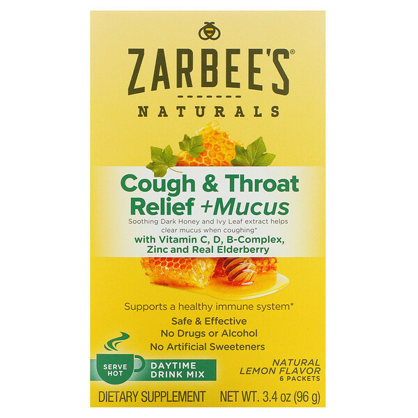 Zarbee's, Cough & Throat Relief + Mucus Daytime Drink Mix, Natural Lemon Flavor, 6 Packets, 3.4 oz (96 g) (Discontinued Item)