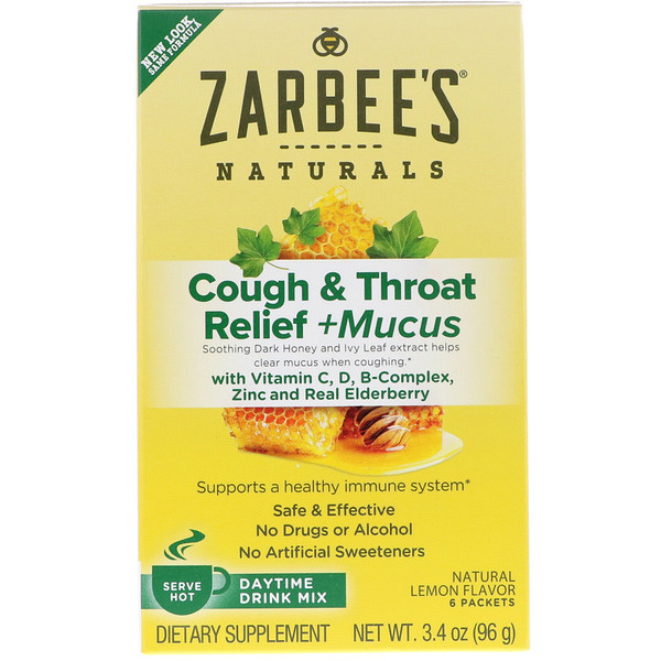Zarbee's, Cough & Throat Relief + Mucus Daytime Drink Mix, Natural Lemon Flavor, 6 Packets, 3.4 oz (96 g)