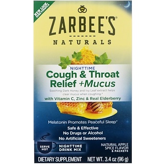 Zarbee's, 咳・痰・喉のリリーフ、夜用ドリンクミックス、天然アップルスパイス味、6袋、各3.4 oz (96 g)