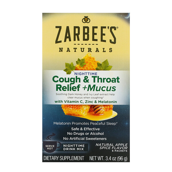 Zarbee's, Cough & Throat Relief + Mucus Nighttime Drink Mix, Natural Apple Spice Flavor, 6 Packets, 3.4 oz (96 g) (Discontinued Item)