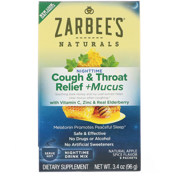 Zarbee's, Cough & Throat Relief + Mucus Nighttime Drink Mix, Natural Apple Spice Flavor, 6 Packets, 3.4 oz (96 g)