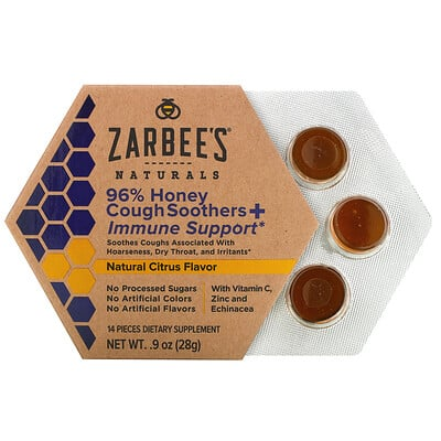 Zarbee's 96% Honey Cough Soothers + Immune Support, Natural Citrus Flavor, 14 Pieces