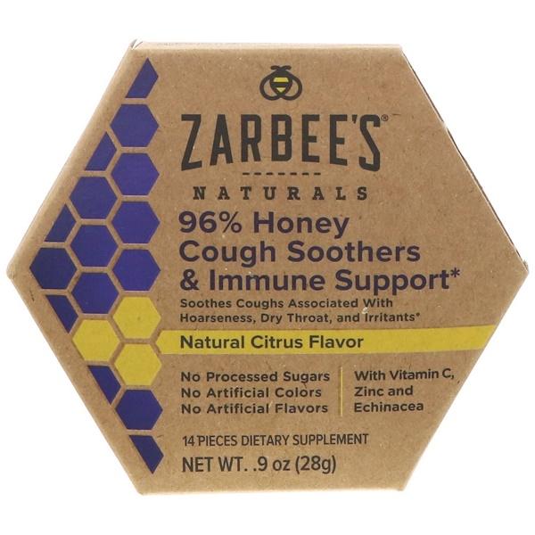 Zarbee's, 96%蜂蜜咳嗽舒緩和抵抗支持,天然柑橘味,14片