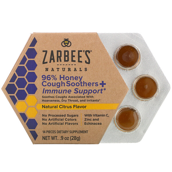 96% Honey Cough Soothers + Immune Support, Natural Citrus Flavor, 14 Pieces