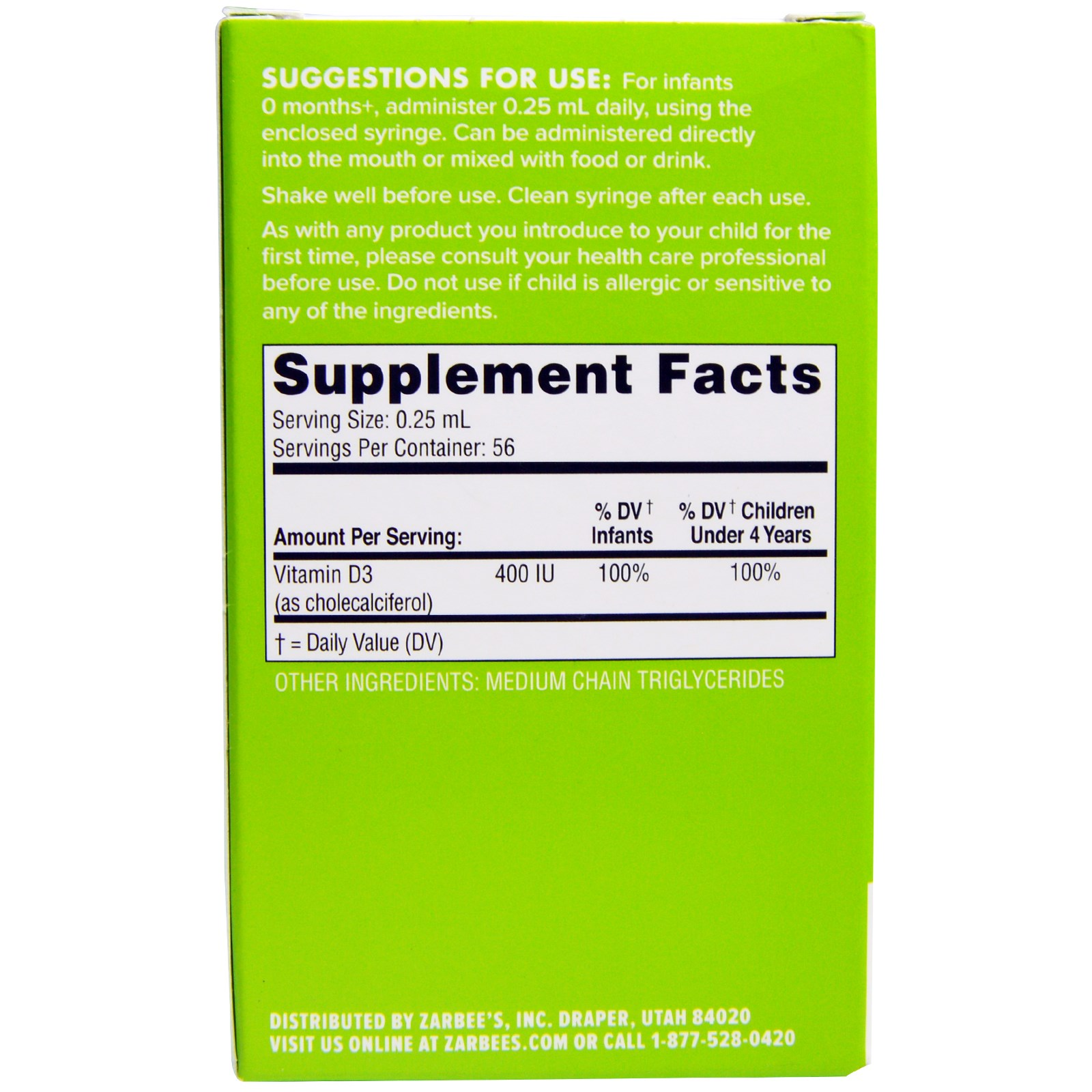 Zarbee S Naturals Baby Vitamin D 0 47 Fl Oz 14 Ml
