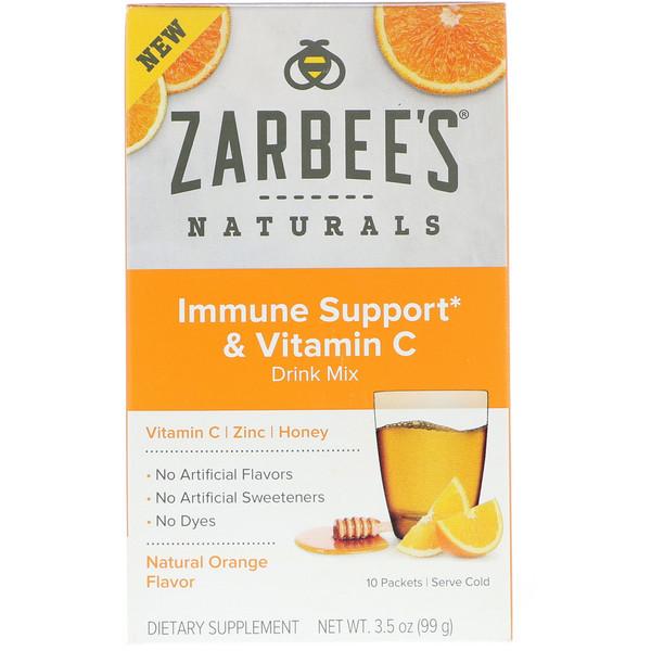 Zarbee's, مزيج شراب دعم المناعة و الفيتامين C ، نكهة البرتقال الطبيعية، 10 عبوات، 3.5 أوقية (99 غرام) لكل عبوة