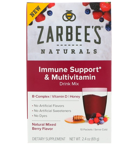 Zarbee's, Immune Support & Multivitamin Drink Mix with B-Complex, Vitamin D, Honey, Natural Mixed Berry Flavor, 10 Packets, 2、4 oz (69 g)