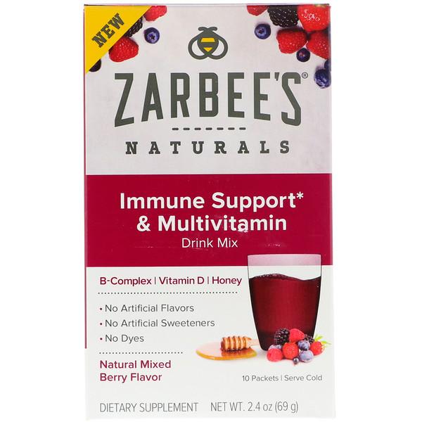 Zarbee's, 면역력 강화, B-복합체, 비타민 D, 꿀이 함유된 종합 비타민 드링크 믹스, 천연 믹스 베리 향, 10봉지, 69g(2.4oz) (Discontinued Item)