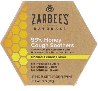 99% мёд, смягчение кашля, натуральный лимонный вкус, 14 штук