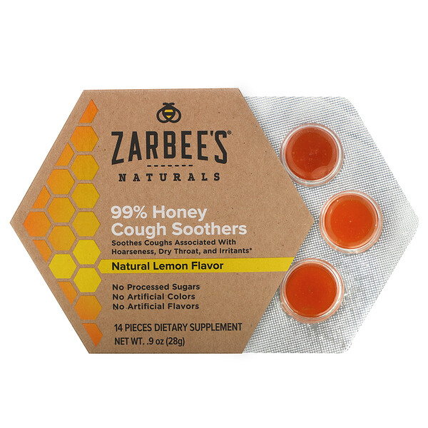 Zarbee's, 99%蜂蜜咳嗽舒緩,天然檸檬味,14片