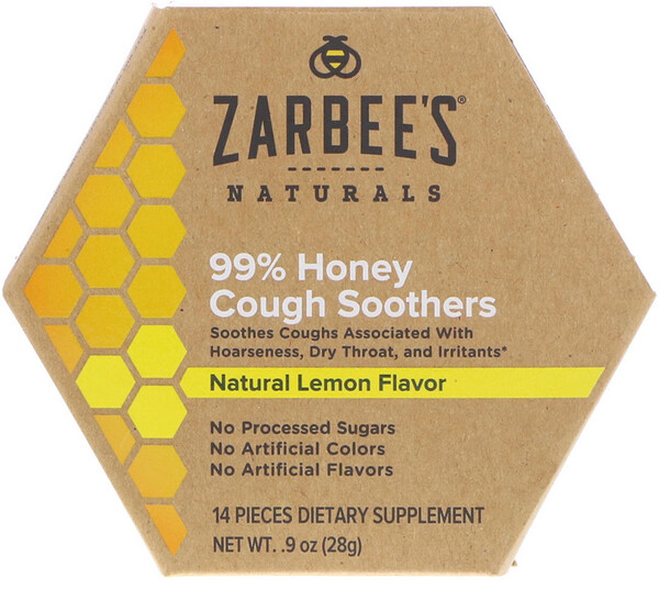 Zarbee's, 99% Honey Cough Soothers, Natural Lemon Flavor, 14 Pieces