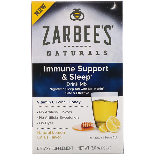 Zarbee's, Naturals, Immune Support & Sleep Drink Mix, Natural Lemon Citrus Flavor , 10 Packets, 3.6 oz (102 g)