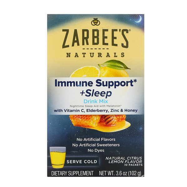 Naturals, Immune Support & Sleep Drink Mix, Natural Lemon Citrus Flavor, 10 Packets, 3.6 oz (102 g)