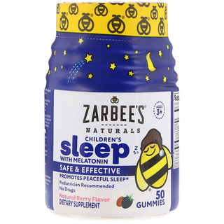 Zarbee's, Children's Sleep com Melatonina, Sabor Natural de Bagas, 50 Gomas