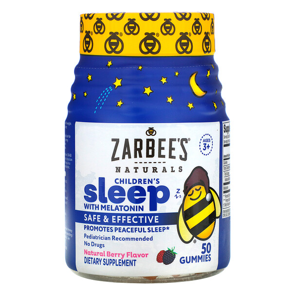 Zarbee's, Children's Sleep with Melatonin, Natural Berry Flavor, Ages 3+, 50 Gummies