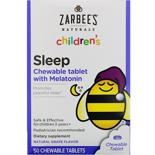 Zarbee's, Children's Sleep Chewable Tablet with Melatonin, Natural Grape Flavor, 50 Chewable Tablets