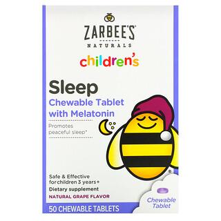 Zarbee's, Children's Sleep with Melatonin, Natural Grape Flavor, For Children 3 Years +, 50 Chewable Tablets