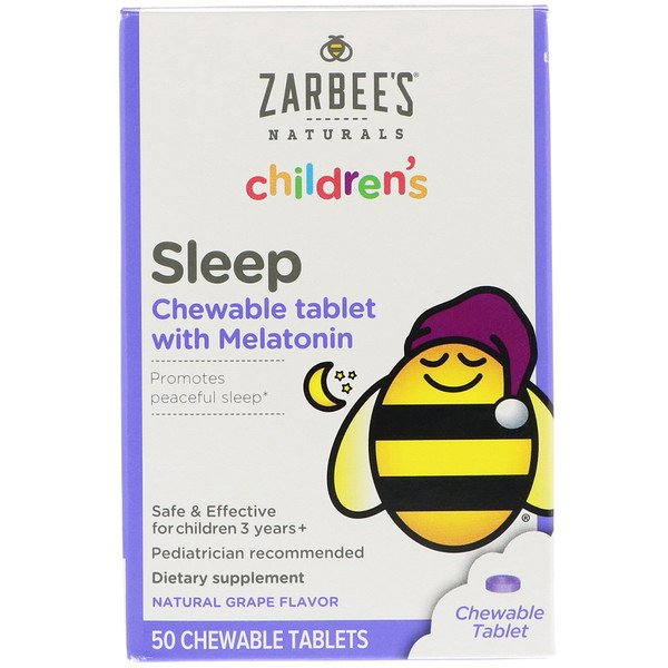 Children's Sleep with Melatonin, Natural Grape Flavor, For Children 3 Years +, 50 Chewable Tablets