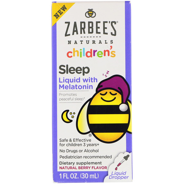 Childrens Sleep Liquid with Melatonin, For Children 3 Years +, Natural Berry Flavor, 1 fl oz (30 ml)