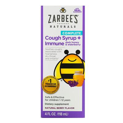 Купить Zarbee's Комплексная добавка для детей, сироп от кашля + средство для укрепления иммунитета, темный мед и бузина, формула без содержания спирта, натуральный ароматизатор со вкусом ягод, 118мл (4жидк. унции)