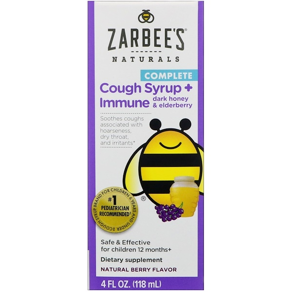 Zarbee's, Children's Complete Cough Syrup + Immune with Dark Honey & Elderberry, Natural Berry Flavor, 4 fl oz (118 ml)