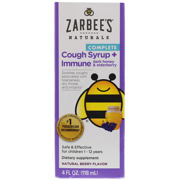 Zarbee's, Children's Complete, Cough Syrup + Immune, Dark Honey & Elderberry, Non-alcohol Formula, Natural Berry Flavor, 4 fl oz (118 ml)