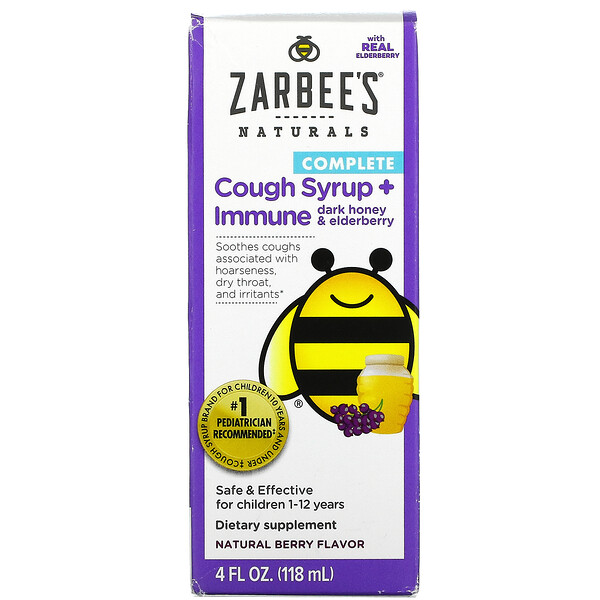 Children's Complete, Cough Syrup + Immune, Dark Honey & Elderberry, Natural Berry, 4 fl oz (118 ml)