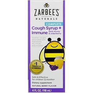 Zarbee's, Сироп с полным составом для детей от кашля + для иммунитета с темным медом и ягодами бузины, Натуральный ягодный вкус, 4 унции (118 мл)