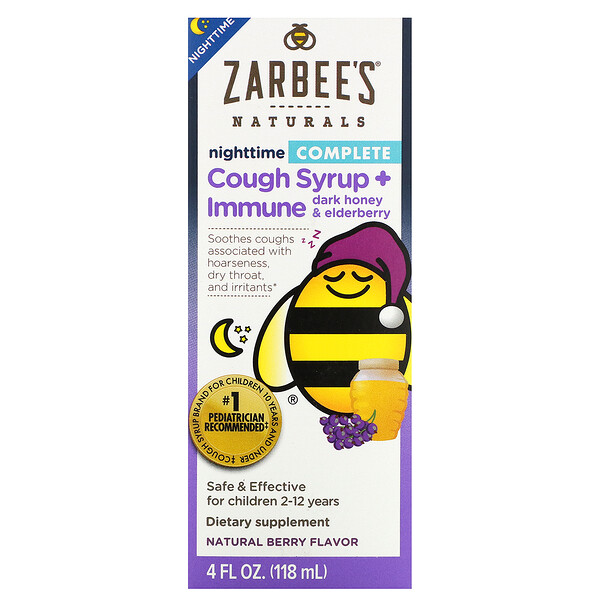 Zarbee's, Children's Complete, Nighttime Cough Syrup + Immune, Dark Honey & Elderberry, Natural Berry Flavor, 4 fl oz (118 ml)