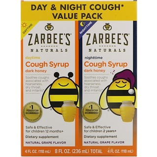 Zarbee's, Naturals, Children's Cough Syrup with Dark Honey, Daytime & Nighttime Value Pack, Natural Grape Flavor, 4 fl oz (118 ml) Each