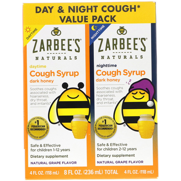 Zarbee's, Children's Cough Syrup, Dark Honey, Daytime & Nigh Cough Value Pack, Natural Grape Flavor, 4 fl oz (118 ml) Each