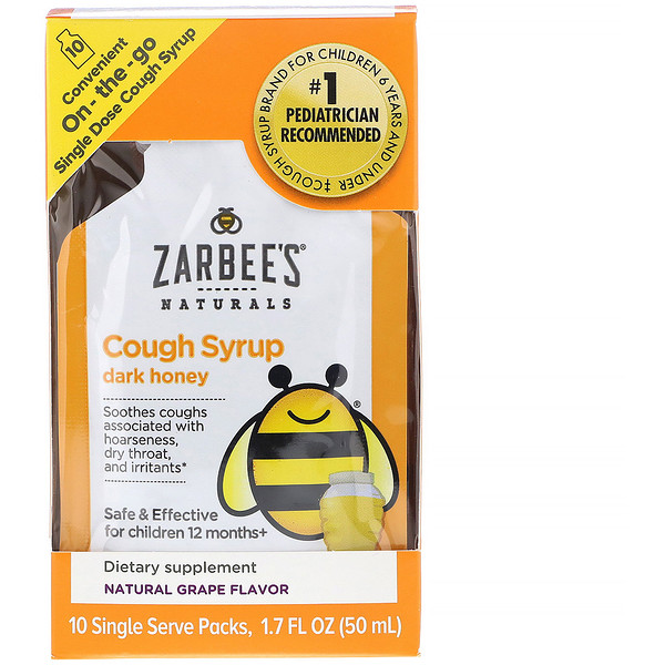Zarbee's, Children's Cough Syrup with Dark Honey, On-the-Go, Natural Grape Flavor, 10 Single Serve Packs, 1.7 fl oz (50 ml)