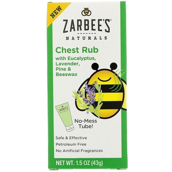 Zarbee's, Naturals,胸部按摩膏,含桉樹、薰衣草、松木和蜂蠟,1、5盎司(43克)