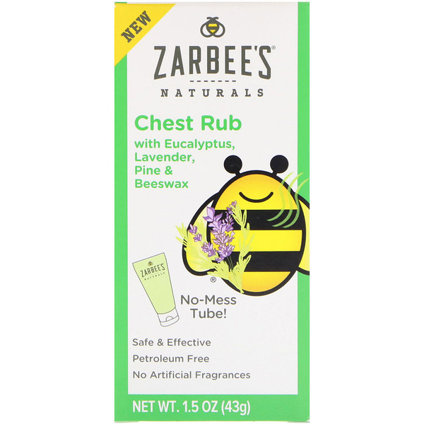 Zarbee's,  Naturals, Chest Rub with Eucalyptus, Lavender, Pine & Beeswax , 1.5 oz (43 g) (Discontinued Item)