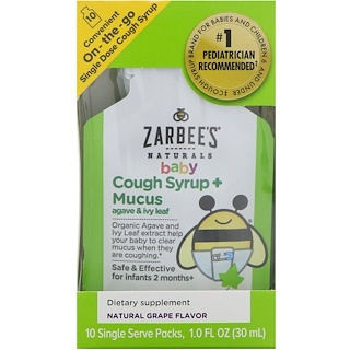 Zarbee's, Baby Cough Syrup + Mucus with Organic Agave and Ivy Leaf, On-the-Go, Natural Grape Flavor, 10 Single Serve Packs, 0.1 fl oz (3 ml) Each