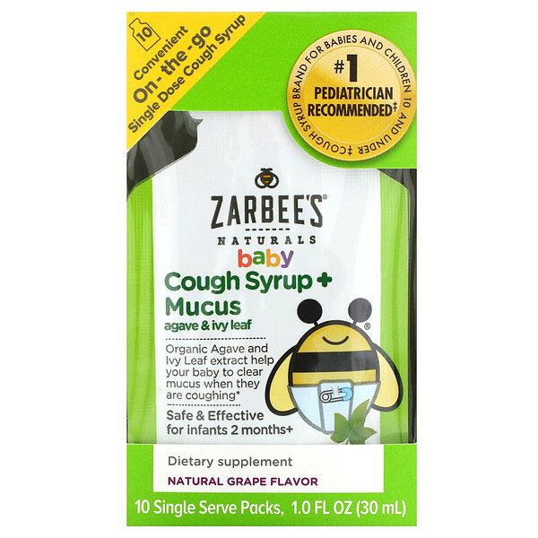 Baby, Cough Syrup + Mucus with Organic Agave and Ivy Leaf, On-the-Go, Natural Grape Flavor, 10 Single Serve Packs, 1.0 fl oz (30 ml) Each