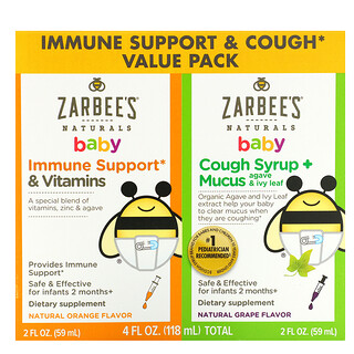Zarbee's, Baby, Immune Support & Cough Syrup Value Pack, 2 fl oz (59 ml) Each