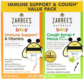 Zarbee's, Baby Immune Support & Cough Syrup Value Pack, 2 fl oz (59 ml) Each