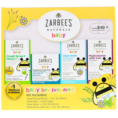 Naturals, Baby Bee Prepared Kit, Cough Syrup + Mucus, Soothing Chest Rub, Gripe Water, Multivitamin with Iron, 7.5 fl oz