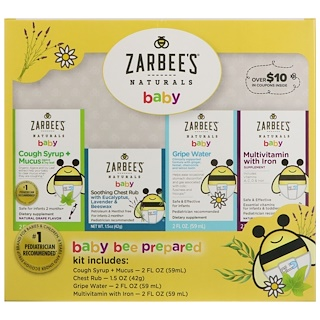 Zarbee's, Naturals, Baby Bee Prepared Kit, Including Cough Syrup + Mucus, Soothing Chest Rub, Gripe Water, Multivitamin with Iron, 7.5 fl oz