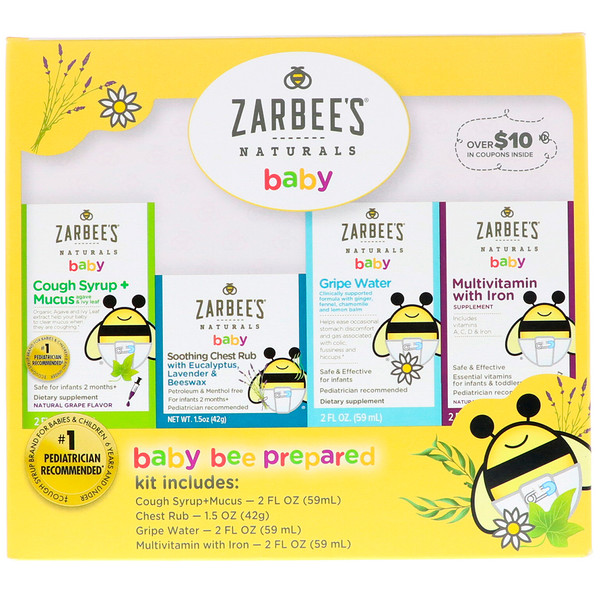 Zarbee's, Naturals, Baby Bee Prepared Kit, Cough Syrup + Mucus, Soothing Chest Rub, Gripe Water, Multivitamin with Iron, 7.5 fl oz
