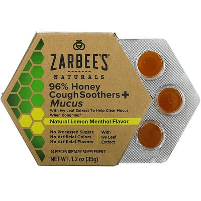 Zarbee's 96% Honey Cough Soothers + Mucus, Natural Lemon Menthol Flavor, 14 Pieces