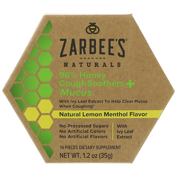 Zarbee's, 96% Honey Cough Soothers + Mucus, Natural Lemon Menthol Flavor, 14 Pieces