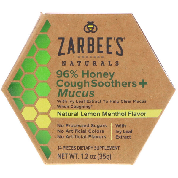 Zarbee's, 96% Honey Cough Soothers + Mucus, Natural Lemon Menthol Flavor, 14 Pieces (Discontinued Item)