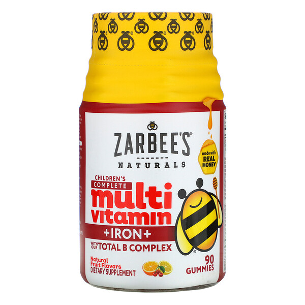 Zarbee's, Multivitamínico completo para niños + hierro, sabores naturales a fruta, 90 gomitas